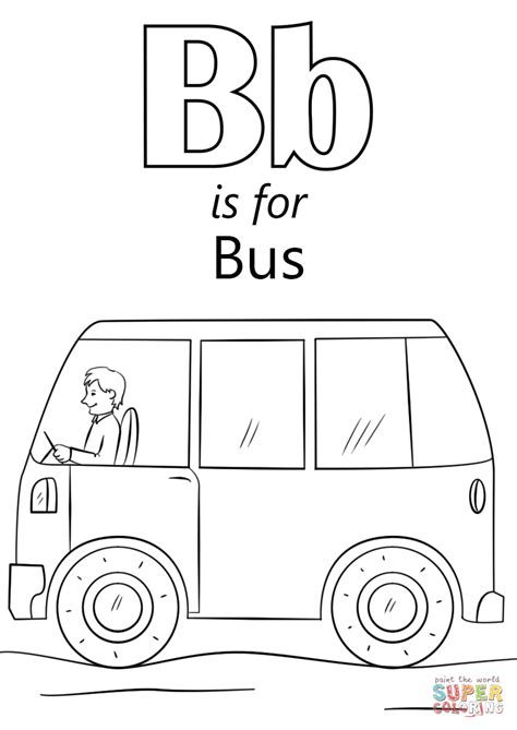 letter b is for coloring page free printable 176 | letter b is for bus coloring page