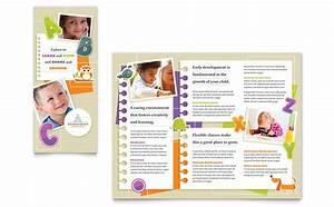 kindergarten tri fold brochure template design With nursery brochure templates free