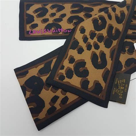 louis vuitton black brown multicolor gold lv monogram leopard print silk bandeau scarfwrap