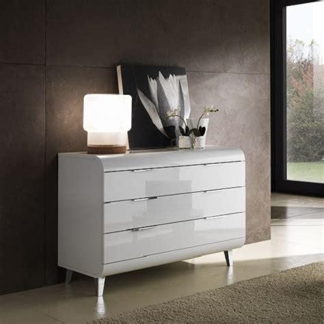 kenia modern chest  drawers wide  white high gloss