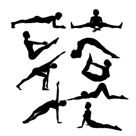 These svg images were created by modifying the images of pixabay. Female silhouettes in yoga poses   Free Vector