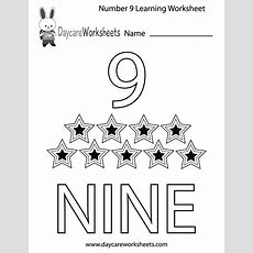Free Preschool Number Nine Learning Worksheet