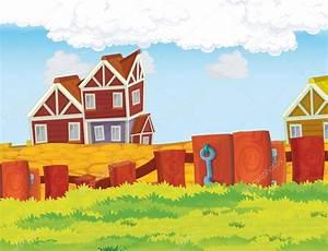 Escena de dibujos animados de la granja con casa de madera ...