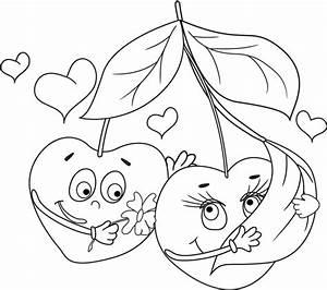 Dessin Saint Valentin : coloriage des fruits et des coeurs coloriages ~ Melissatoandfro.com Idées de Décoration
