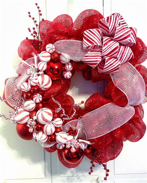 and white christmas wreaths tangled wreaths christmas holiday deco mesh red white peppermint deco mesh wreath