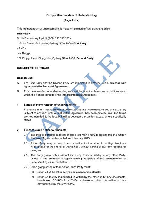 Memorandum Of Understanding Template Memorandum Of Understanding Sle Lawpath