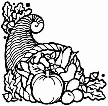 Cornucopia Thanksgiving Horn Clip Turkey Coloring Clipart