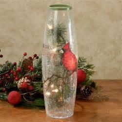 christmas cheer lighted glass vase
