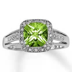 peridot wedding rings jared peridot ring 1 10 ct tw diamonds 10k white gold
