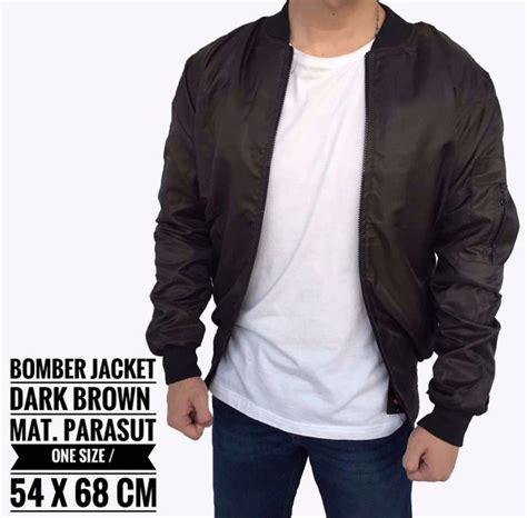 jual jaket bomber army pria cowok casual warna coklat