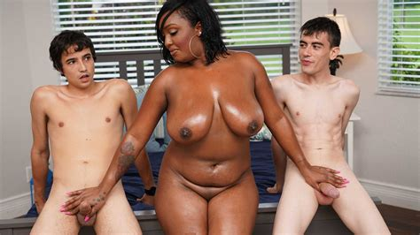 Ebony Mom Having Fun With Stepson And His Friend Porn 1f