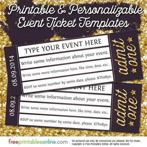 ticket templates online free admit one gold event ticket template free printables