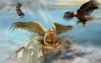 Angel Wallpapers Desktop Angels Clouds Wings Throne