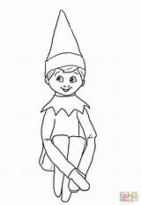 Coloring Elf Shelf Pages Printable Print sketch template