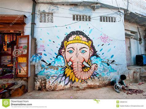 street graffiti  lord ganesh   blue wall