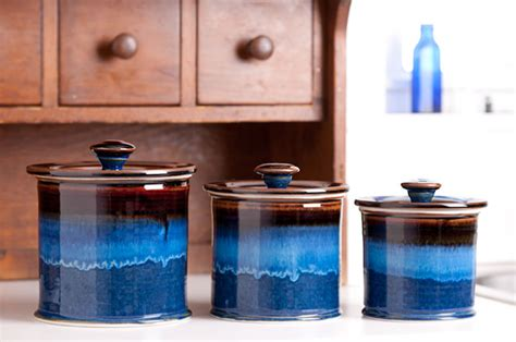 Blue Kitchen Canister Sets by Georgetown Pottery Canister Set