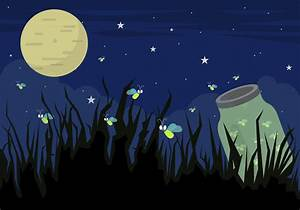 Illustration of Firefly Bugs at Night in Vector - Download ...