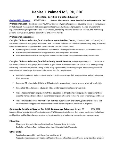 clinical dietitian resume exles registered dietitian resume sle resumes design