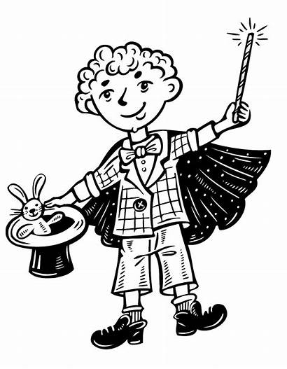 Coloring Magic Magician Pages Clipart Kid Printable