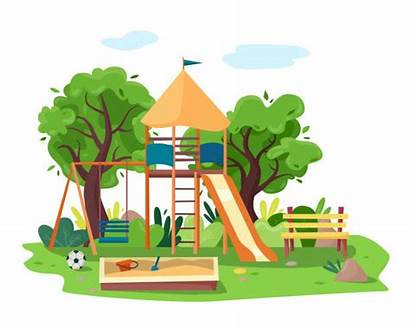 Park Vector Parks Playground Clip Tree Bench