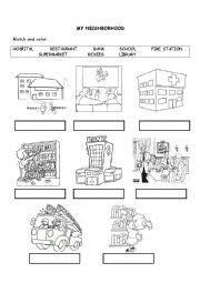 english worksheet  neighborhood worksheets  kids