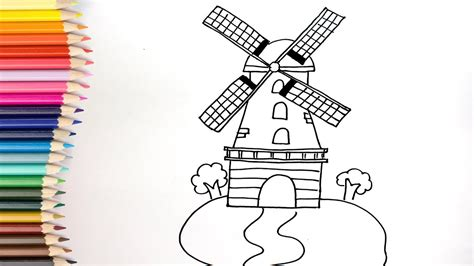 How To Draw Windmill Coloring Pages