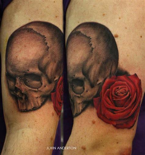 Tatouage Tête De Mort Avec Une Rose Rouge Inkage