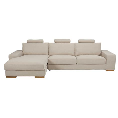 canapé en tissus canapé d 39 angle gauche 5 places en tissu beige chiné