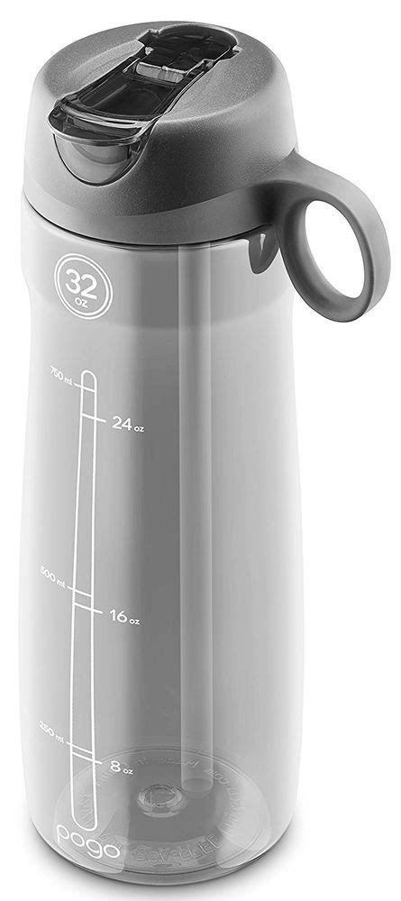 Pogo BPA Free Plastic Water Bottle with Flip Straw Grey 32