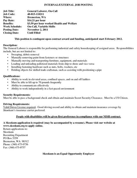 the most sle general labor resume sle general labor