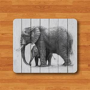 Elephant Pencil Drawing Wooden Mouse Pad Wood Animal Head ...