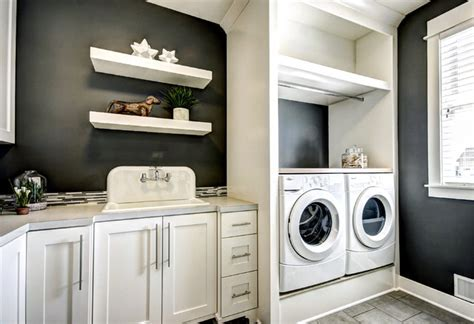 washer dryer pedestal Laundry Room Traditional with black
