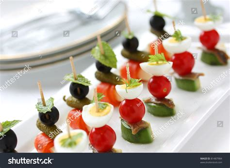 appetizer canape canapes on toothpicks appetizer pinchos stock