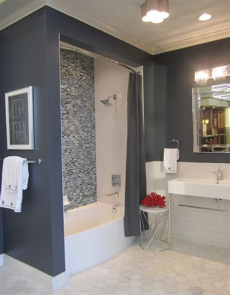 gray shower curtain contemporary bathroom sherwin williams cyberspace