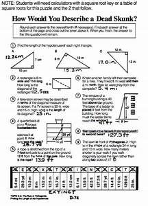 Pizzaz Pg 74  Word Problems Of Pythagorean Theorem