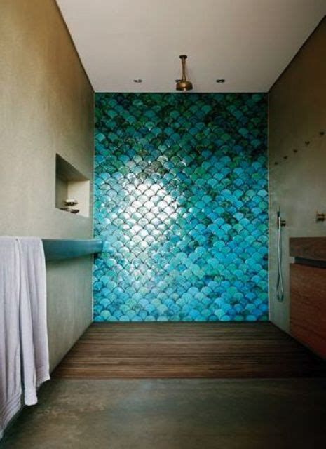 picture of turquoise blue fish scale tiles