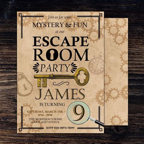 escape room birthday invitation escape room invite