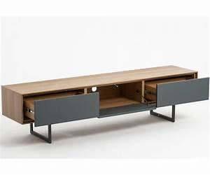 Tele 180 Cm : meuble tv design valeo ch ne et gris 180 cm tiroirs syst me push pull ~ Teatrodelosmanantiales.com Idées de Décoration