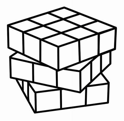 Cube Rubiks Coloring Clip Rubik Line Thick