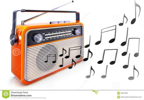 Portable Radio And Music Notes Stock Illustration
