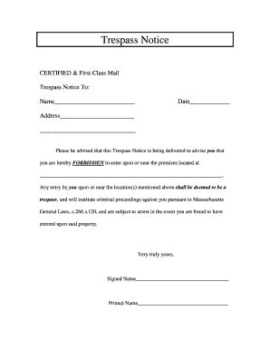 Trespass Notice Template by Trespass Notice Form Fill Printable Fillable