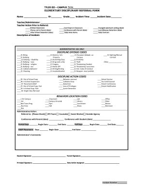 discipline referral system fill  printable