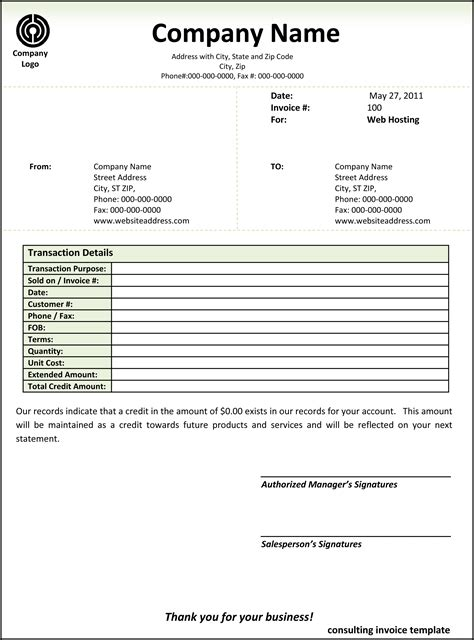 consulting invoice template word invoice