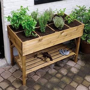 Carré Potager Gamm Vert : carr potager sur pieds l120 h86 5 cm bois trait ~ Dailycaller-alerts.com Idées de Décoration