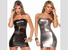 Women nightclub dress sexy imitation leather cool tight