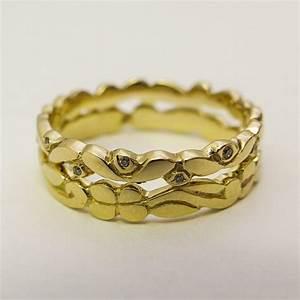 stacking wedding rings set for women 14 karat solid gold With 14 karat gold wedding rings