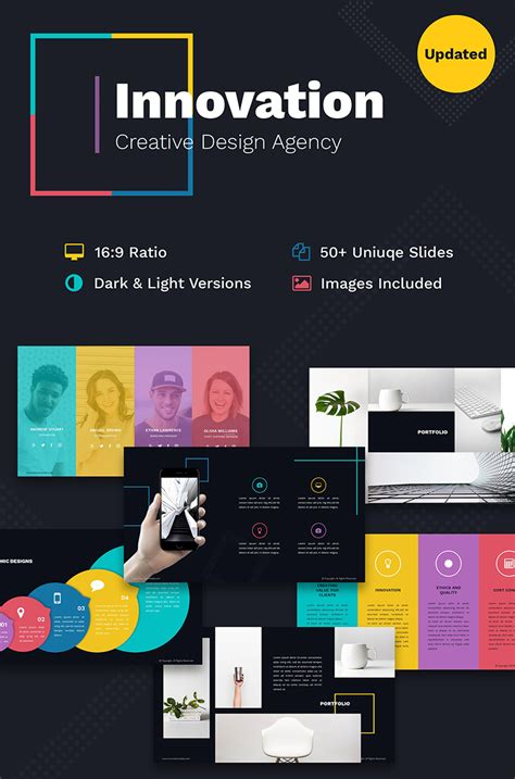 Templete Free by Innovation Creative Ppt For Design Agency Powerpoint