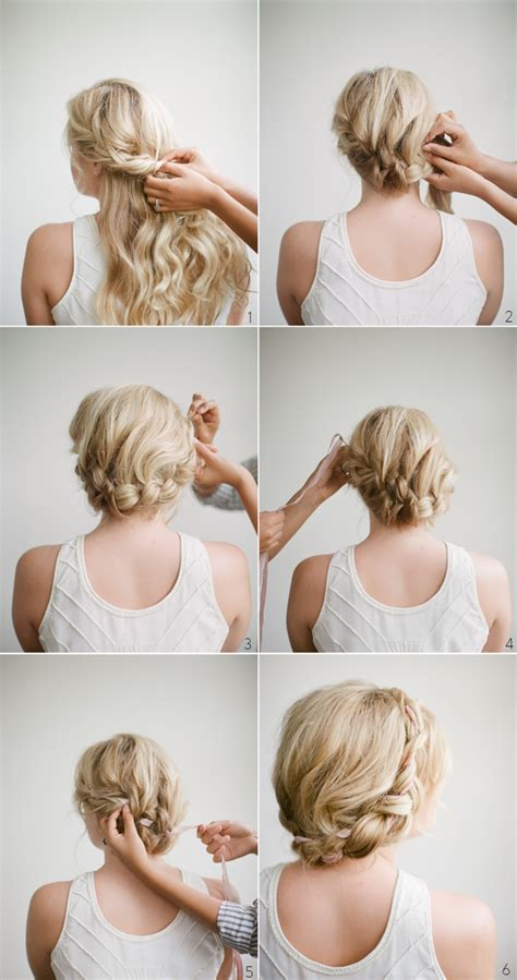 diy wedding hairstyles step by step diy halo braid tutorial with frou frou ribbon once wed