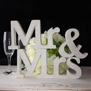 Glitter mr mrs with surname wedding letters white glitter for Sparkly wooden letters