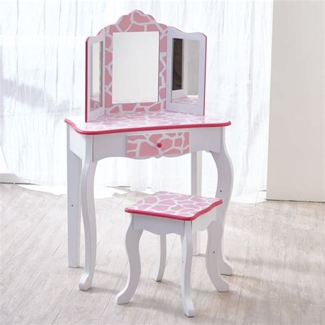 toddler vanity table teamson fashion prints vanity set with mirror in pink